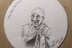 Dalai Lama - tekening op biervilt als onderdeel van een biervilt tekenproject
