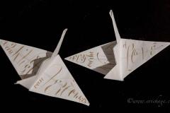Origami Kraanvogel met kalligrafie, 2018